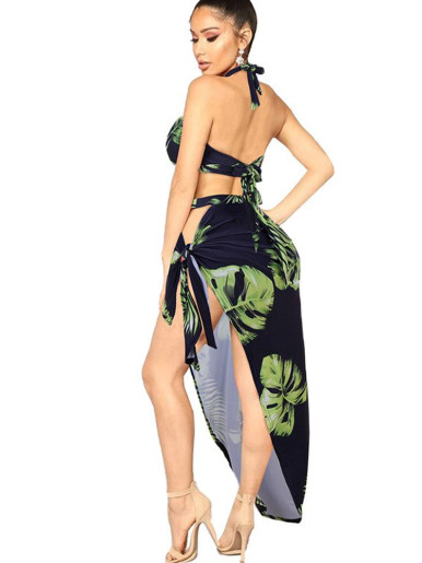 Printed Halter Top+ Maxi Skirt Women Beach Set