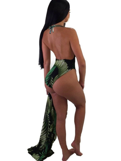 Palm Leaf Print Plunge Swimsuit + Cover Up