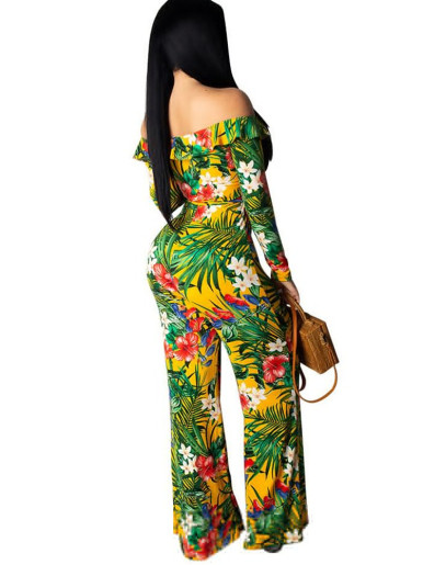 Ruffle Off Shoulder Women Wide Leg Jumpsuit In Tropical Plant Print