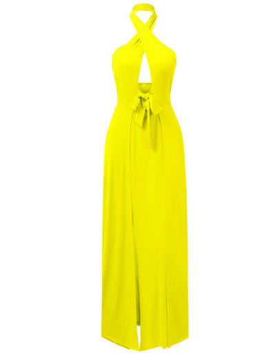 Tie Front High Split Maxi Dress