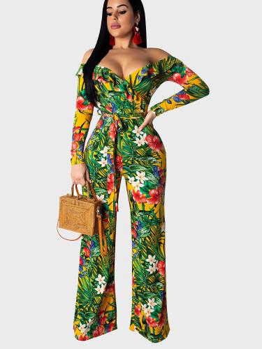 Ruffle Off Shoulder Women Wide Leg Jumpsuit In Tropical Plant Print