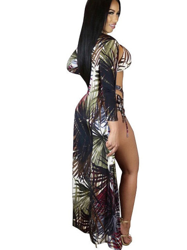 Leaf Print Women Strappy Bikini Set + Cover up