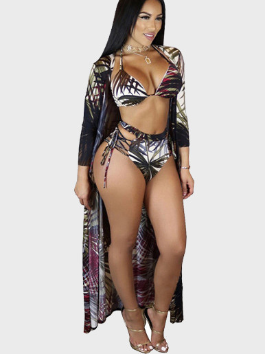 Leaf Print Women Strappy Bikini Set + Cover up