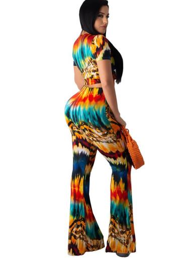 Colourful Tie Dye Lace-Up Top + Pant Women Set