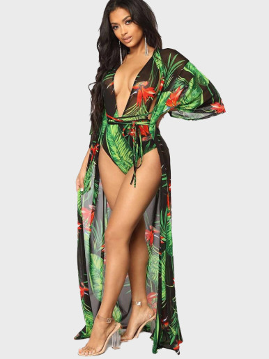 Printed Women Swimwear Set Swimsuit + Cover Up