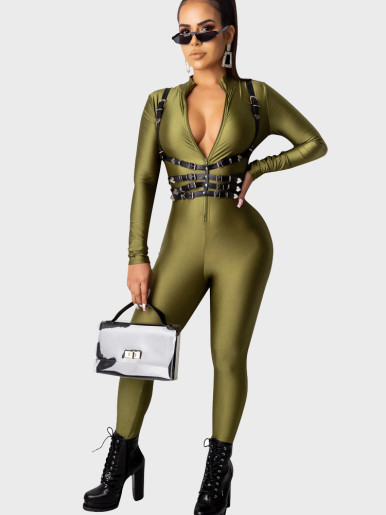 Solid Zipper Up long Sleeve Women Jumpsuit( Other Not Includ)
