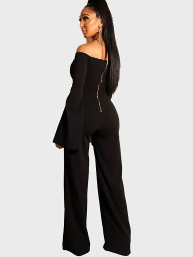 Cut Out Detail Off Shoulder Flared Sleeve Women  Jumpsuit