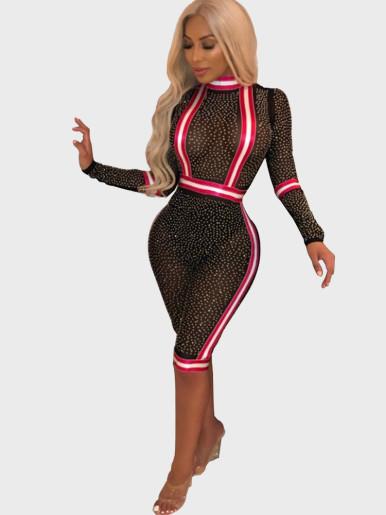 Sheer Mesh Embellished Women Playsuit with Stripe Taping