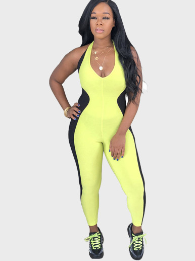 Plunge Front Halter Women Jumpsuit with Contrast Spliced Side