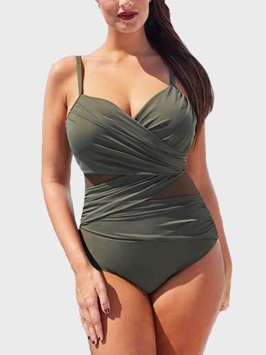 Mesh Insert Swimsuit Women