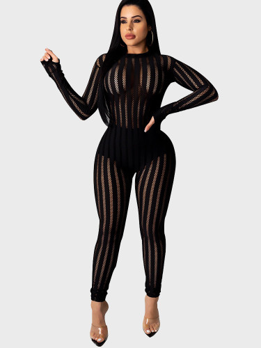 Striped Mesh Spliced Women Jumpsuit