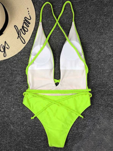Plunge Front Belted Swimsuit Women