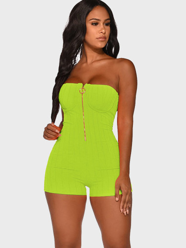 Zipper Front Bandeau Women Playsuit with Corset Detail