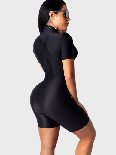 High Neck Solid Women Fitness Playsuit