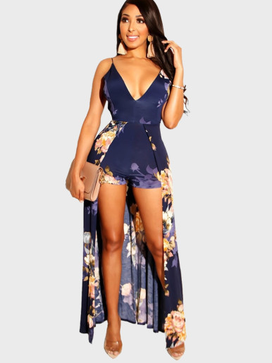 Strappy Deep V Neck Women Playsuit In Floral Print with Maxi Skirt Layer