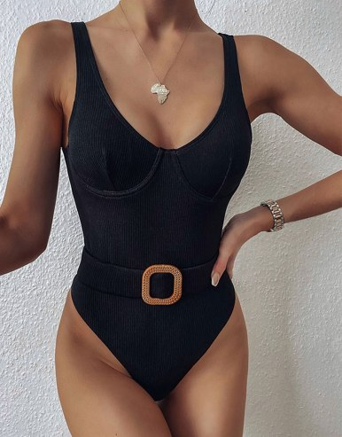 Buckle Belt Detail Women Bikini Set / Swimsuit