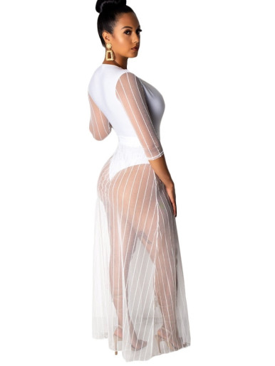 Plunge Front Women Bodysuit with Split Maxi Mesh Layer