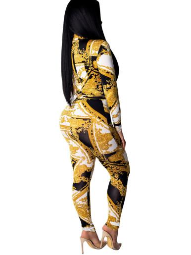 Self Belted Printed Women Jumpsuit