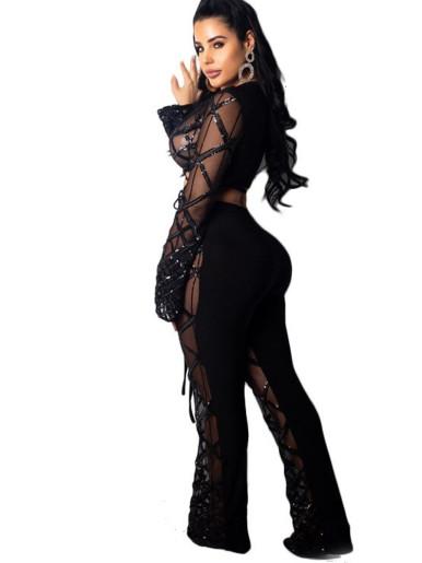 Diamond Sequin Pattern Sexy Women Set