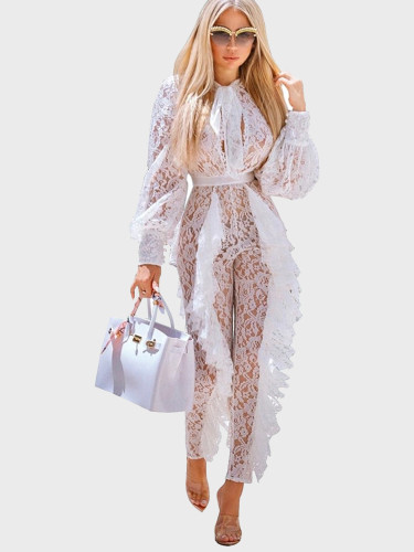 Jacquard Lace Women Jumpsuit with Drape Ruffles