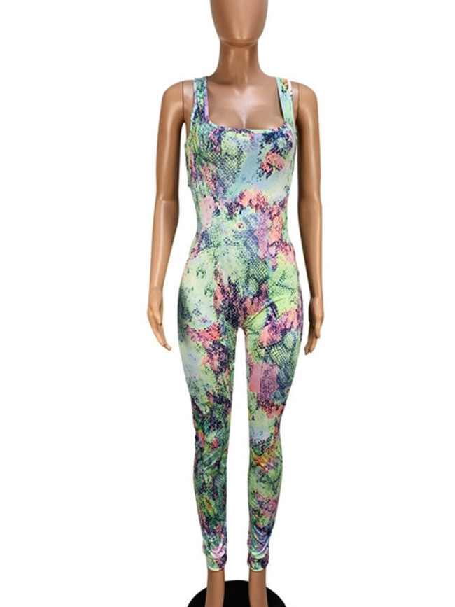 Strappy Back Sleeveless Women Jumpsuit In Colourful Snake