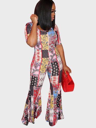Mixed Print Short Sleeve Women Jumpsuit with Flare Leg
