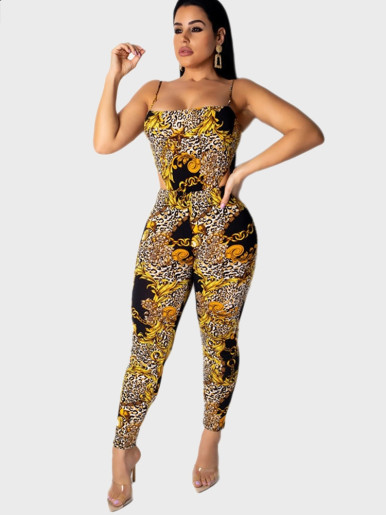 Mixed Print Cami Strap Women Jumpsuit with Cut Out
