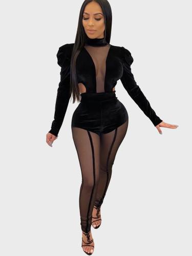 Velvet and Mesh Spliced Bodysuit + Pant Women Set