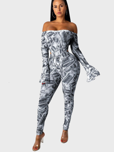 US Dollar Print Off Shoulder Flared Sleeve Women Jumpsuit