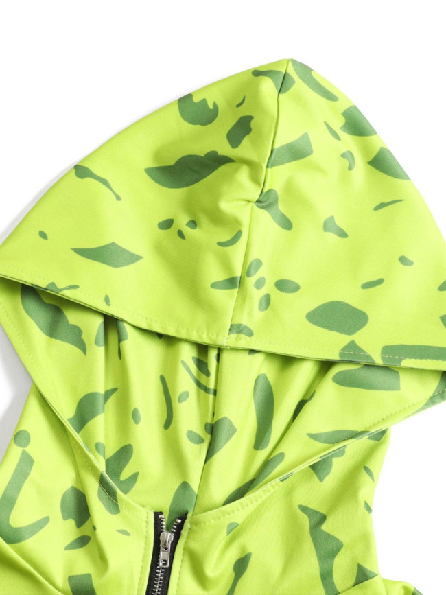 Camouflage Print Hooded Women Sporty Set