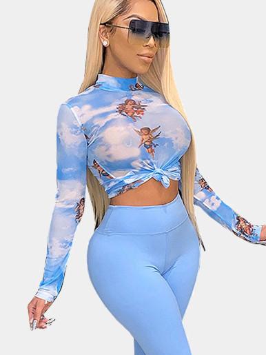 Cupid Print Tie Dye Sheer Mesh Crop Top Women