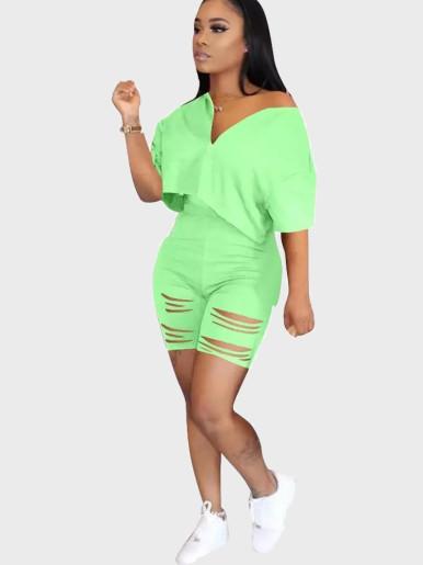 Crop Top + Shorts Solid Women Fitness Set