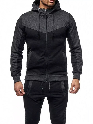 Cut and Sew Mens Tracksuit Set Zipper Hoodie + Jogger