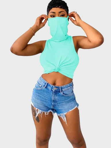 Women Sleeveless Tee Tops with Mask Design