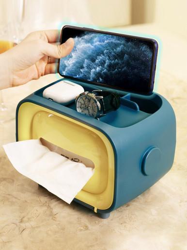 Multifunctiona Tissue Holder  Desktop Storage Box for Phone Holder