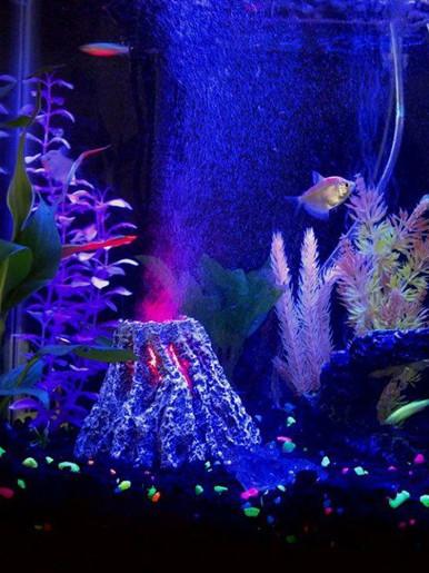 Aquarium Volcano Ornament Light Night with LED Light