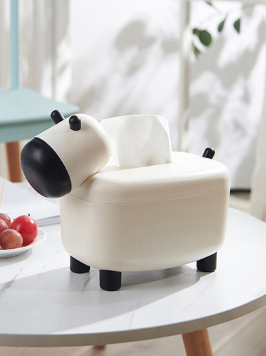 2 In 1 Tissue Box Cow Shape Paper Towel Dispenser Toothpick Boxes