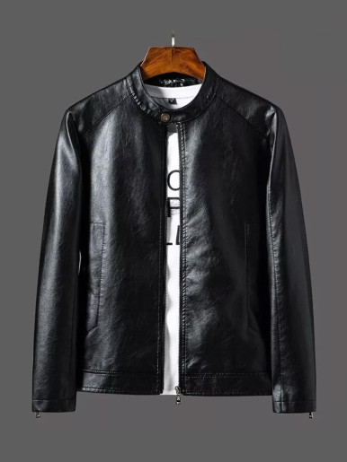 PU Leather Jacket for Men Solid Color