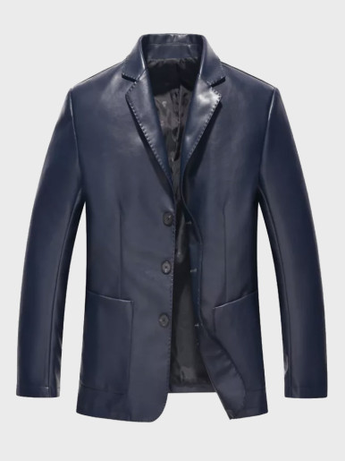 Handsome Slim Fit Leather Jacket Suit for Men