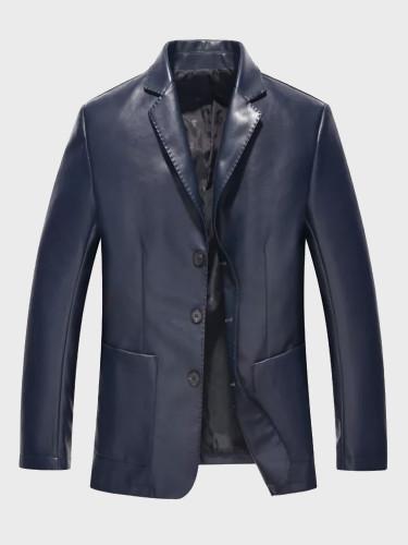 Handsome Slim Fit Leather Jacket Suit for Men