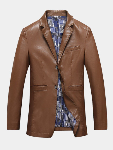 Men Blazers PU Leather Suit Jacket