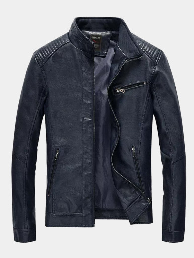 PU Leather Men Motorcycle Jacket Slim