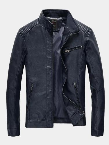 PU Leather Men Motorcycle Jacket Slim