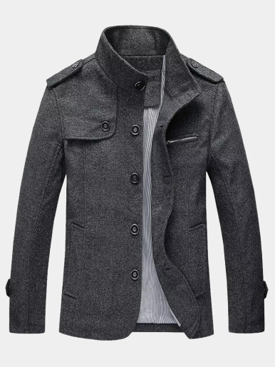 Business Casual Stand Collar Mens Coats
