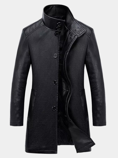 Slim Men PU Long Jackets
