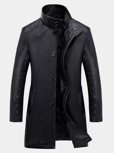 Slim Men PU Long Jackets