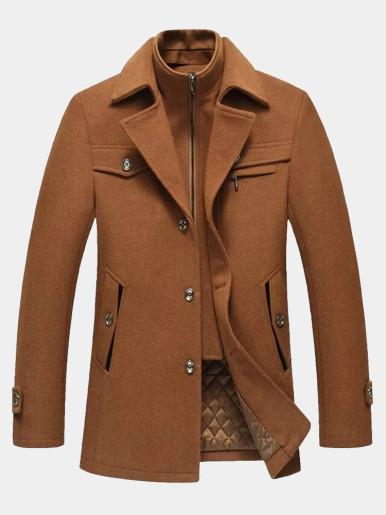 Wool Blend Thicken Warm Men Coat