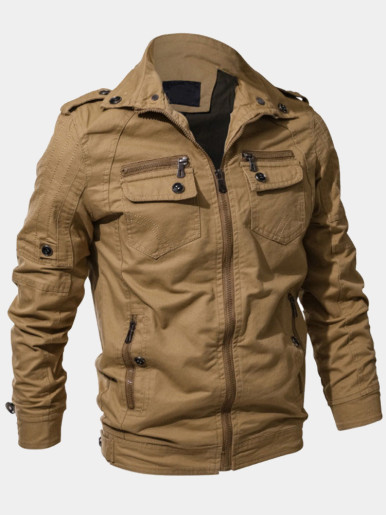 Regular Fit Men Military Jackets with Multi-Pockets