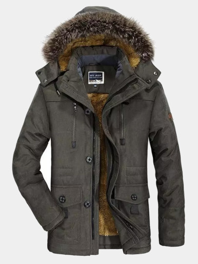 Men Utility Parka Coat with Faux Fur Hood
