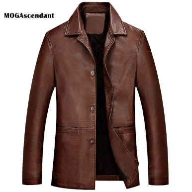 Men's Winter PU Leather Jacket Spring Leisure Faux Leather Jacket Washed Thick Motorcycle Leather Jacket Coat Plus Size 4XL